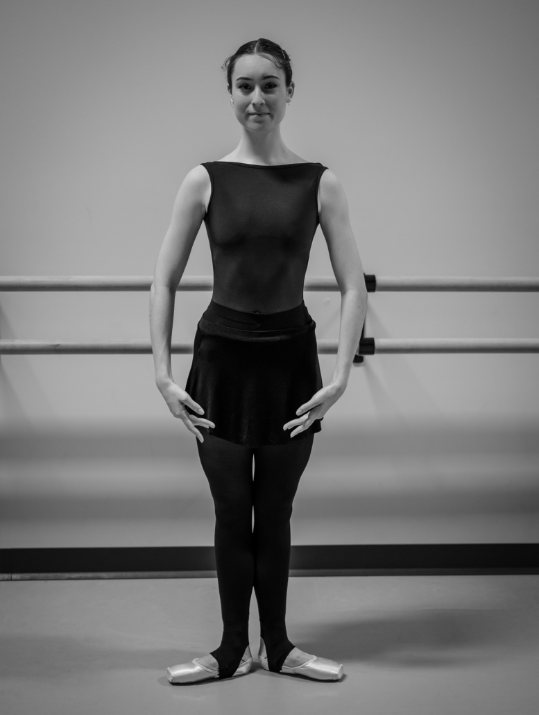 First position. One of the most familiar ballet positions, this pose involves placing your heels together and turning your toes out to the side.